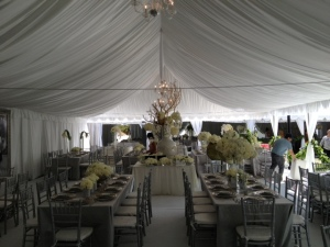 30x60 tent with chandeliers and draping