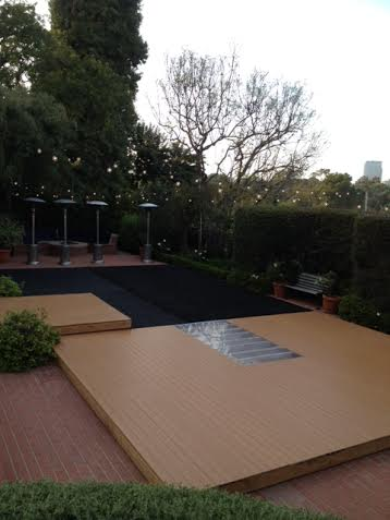 Pool Cover with Wood Flooring and Carpeting Los Angeles