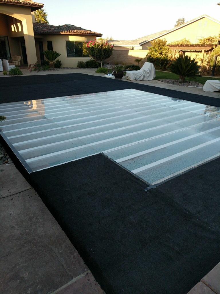 Temporary and permanent hard sturdy pool covers plexi - Temporary floor covering for renters ...