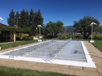 Plexi glass pool cover dance floor Healdsburg CA