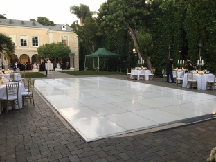 White Dance flooring over swimming pool Wedding in Beverly Hills CA