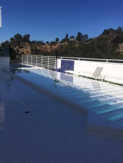 Translucent dance floor over pool for an Event in Los Angeles